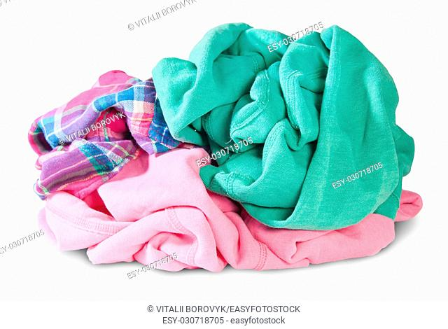 Pile Of Crumpled Clothes Isolated On White Background