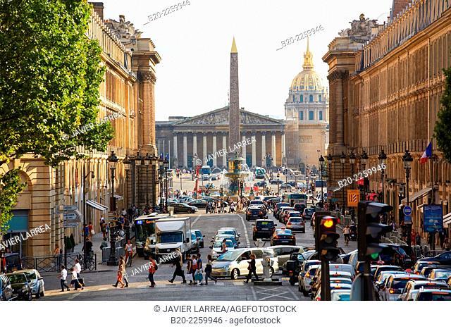 Rue Royale street. Place de la Concorde. Paris. France