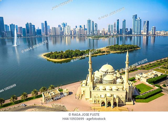 United Arab Emirates, UAE, Middle East, Sharjah, City, Al Noor, architecture, bay, city, construction, development, emirates, fountain, minaret, modern, mosque