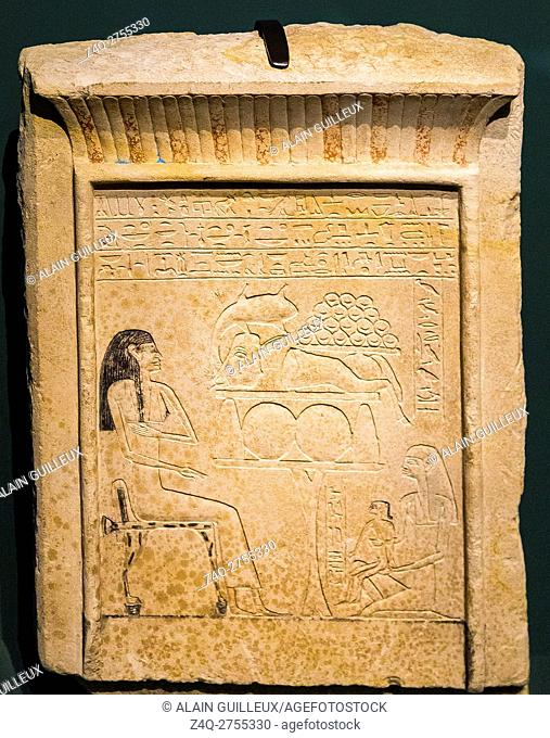 """Photo taken during the opening visit of the exhibition """"""""Sésostris III, pharaon de légendeâ. . , Lille, France, about a famous king of Egypt"""