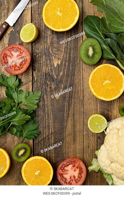 Fruits and vegetables on wood