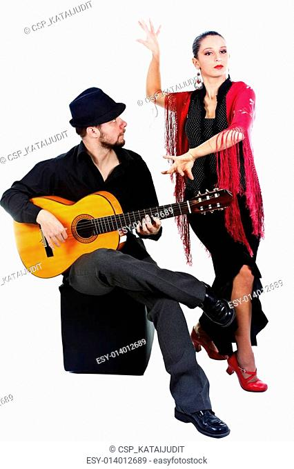 Flamenco dancer with guitarist