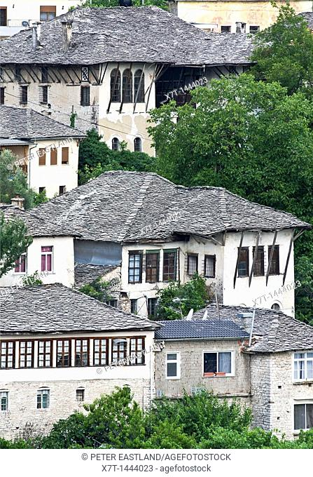 Traditional, ottoman style, stone roofed, houses in the old town of Gjirokastra in southern Albania
