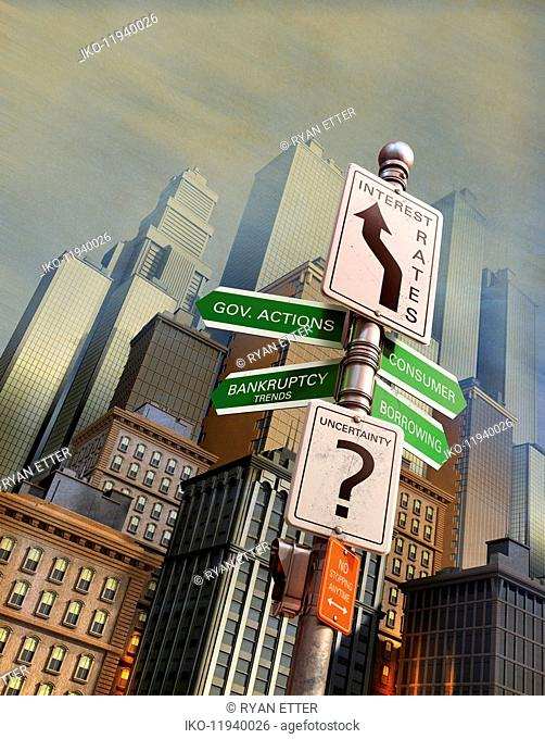 Economic uncertainty signpost in city financial district