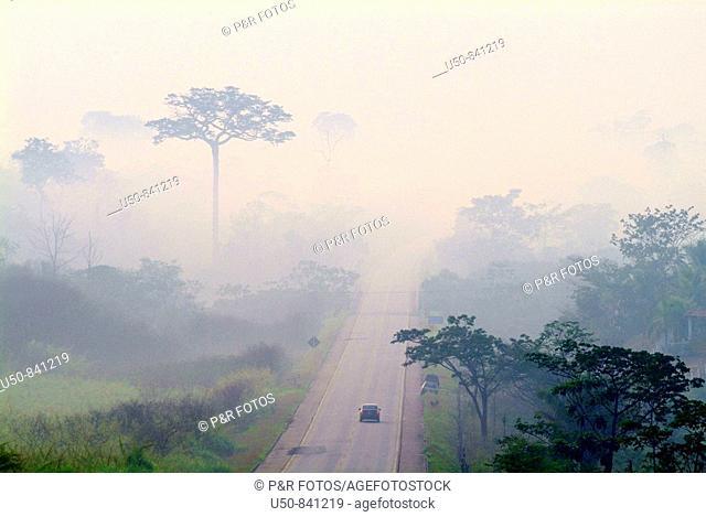 Smoke over road, Brazilian Amazon, Rio Branco, Acre, Brazil