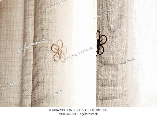 Embroidery flowers in a curtain