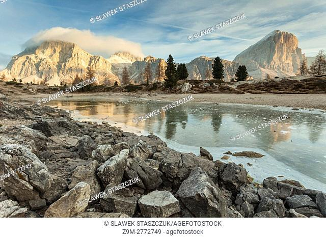 Misty dawn at lake Limides near Cortina d'Ampezzo, Dolomites, Italy