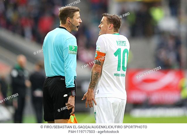 firo: 27.04.2019 Football, Football: 1. Bundesliga, Season 2018/2019 Fortuna Dusseldorf Duesseldorf - Werder Bremen 4: 1 Werder Max Kruse, gesture, gesture