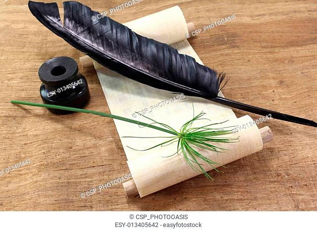 Papyrus scroll with Papyrus plant