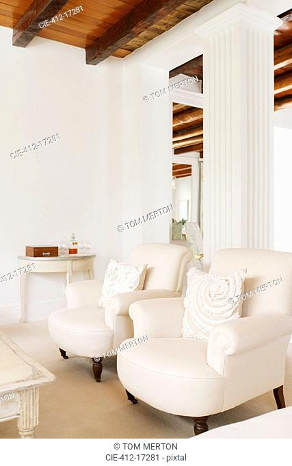 Luxury living room with pillar