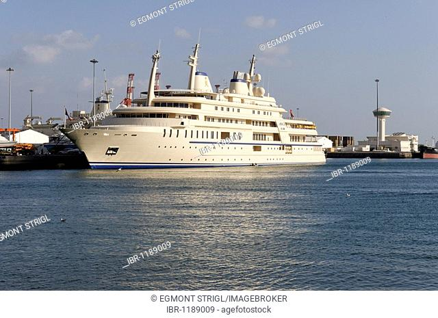 Sultan Qaboos royal yacht, Mutrah harbour, Muscat, Sultanate of Oman, Arabia, Middle East