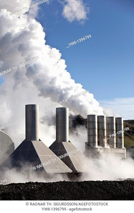 Steaming pipes at Svartsengi Geothermal Power Plant, Reykjanes Peninsula, Iceland