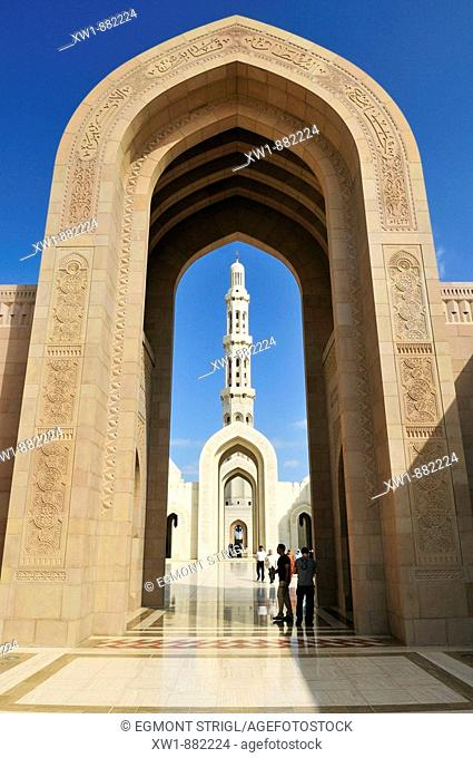 RM, licensed, no property release - editorial only Sultan Qaboos Grand Mosque, Muscat, Sultanate of Oman, Arabia, Middle East
