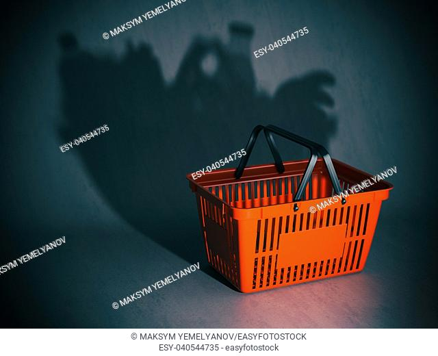 Empty shopping basket with shadow like a full of products and grocery. Poverty or crisis concept, 3d illustration