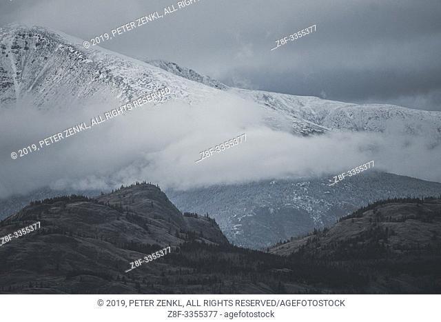 Snow falls in the mountains. Yukon Territory, Canada