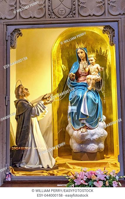 Virgin Mary Baby Jesus Crowns Statue Chapel Santa Maria Novella Church Florence Italy. First Church in Florence founded 1357