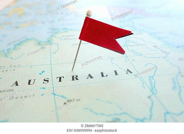 Red locator pin in a map of Australia