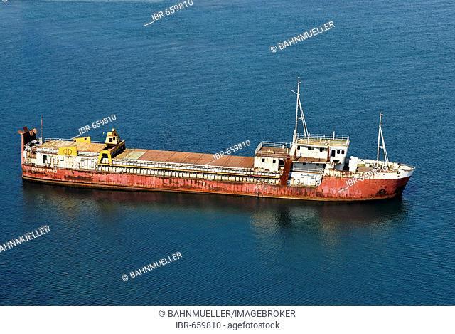 Coast cargo ship in the bay of Baia Campania Italy Italia