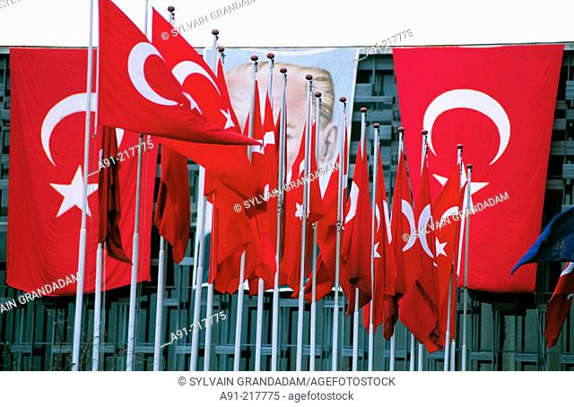 Turkish flags for the National Day at Taksim Square. Istanbul. Turkey