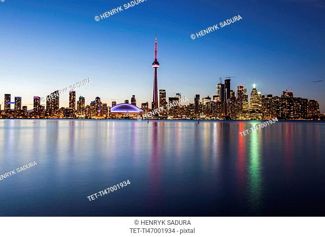 Canada, Ontario, Toronto, Modern city reflected in water