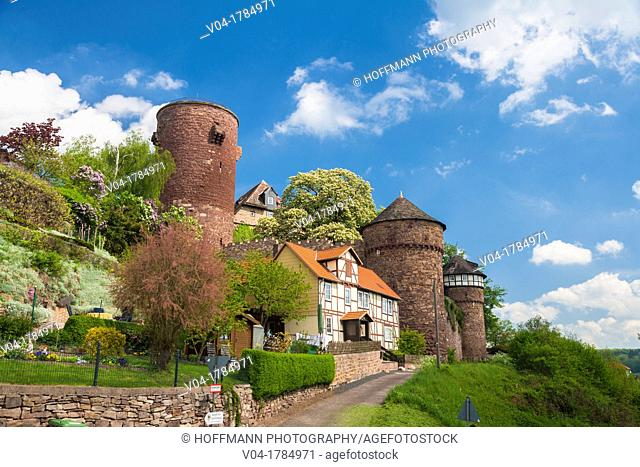 The pictursque Trendelburg Rapunzel's castle on the German Fairy Tale Route, Trendelburg, Hesse, Germany, Europe
