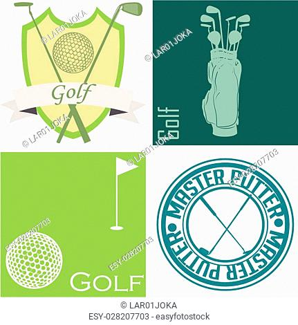 Set of backgrounds and labels with golf elements. Vector illustration