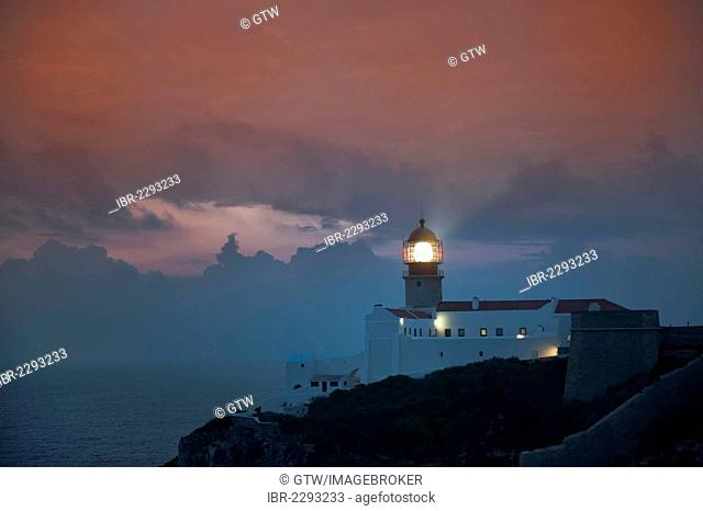 Cabo Sao Vicente Lighthouse at sunset, westernmost point of Europe, Algarve, Portugal, Europe