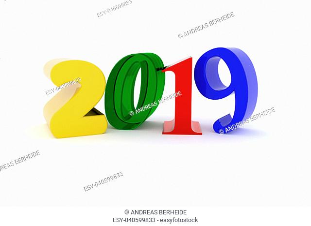 Colorful 2019 on a white background, New Year concept, 3d rendering