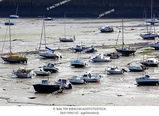 France, Normandy Region, Manche Department, Granville, elevated port view with boats at low tide
