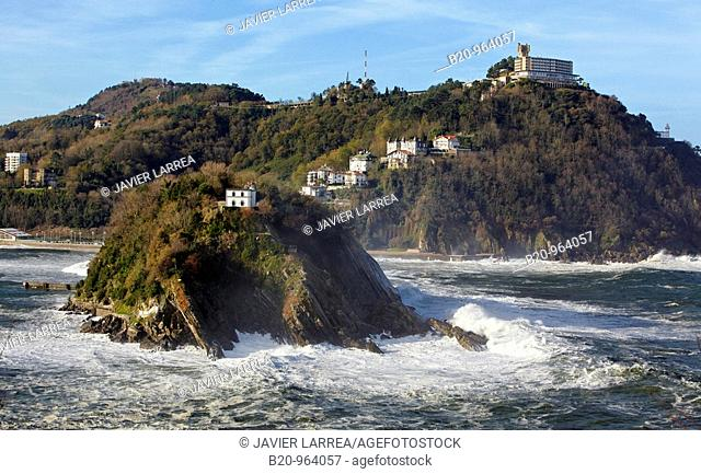 Santa Clara island and Mount Igeldo, San Sebastian, Guipuzcoa, Basque Country, Spain