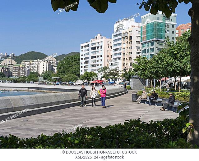 STANLEY HONG KONG People walking Stanley promenade Stanley Bay