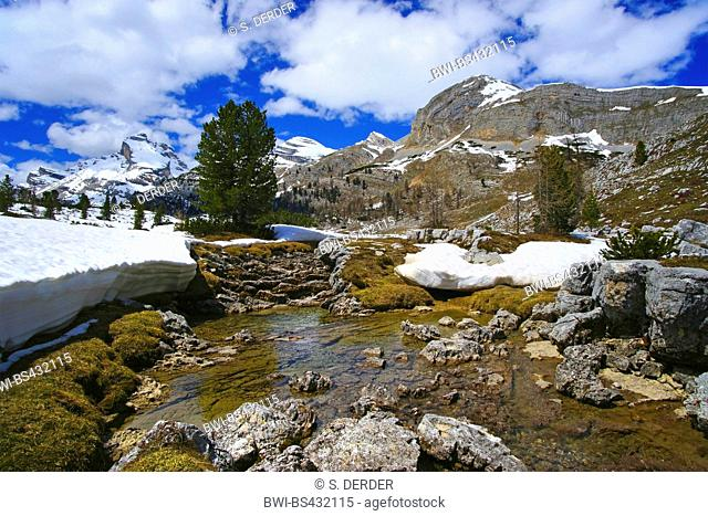 snow in june, Fanes plateau, Italy, South Tyrol, Dolomites
