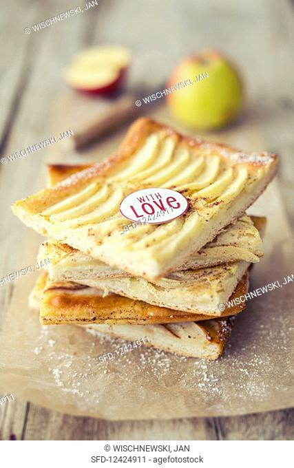Tray bake apple cake with a message