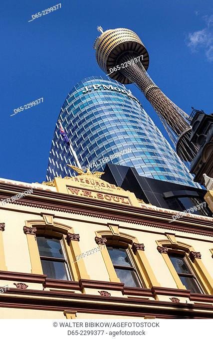 Australia, New South Wales, NSW, Sydney, W.H. Soul Building on Pitt Street Mall and Sydney Tower