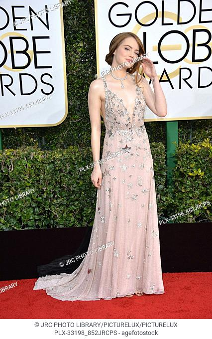 Emma Stone at the 74th Golden Globe Awards at The Beverly Hilton Hotel, Los Angeles, CA , USA , January 8, 2017