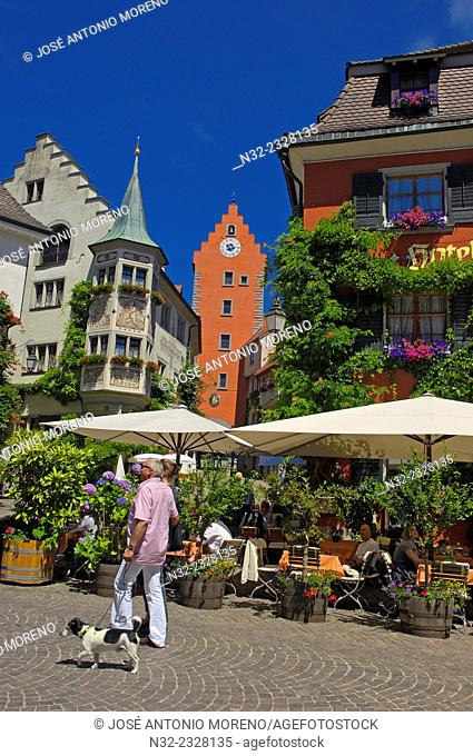Meersburg, Market square, Obertor gate tower, Lake Constance, Bodensee, Baden-Wuerttemberg, Germany, Europe
