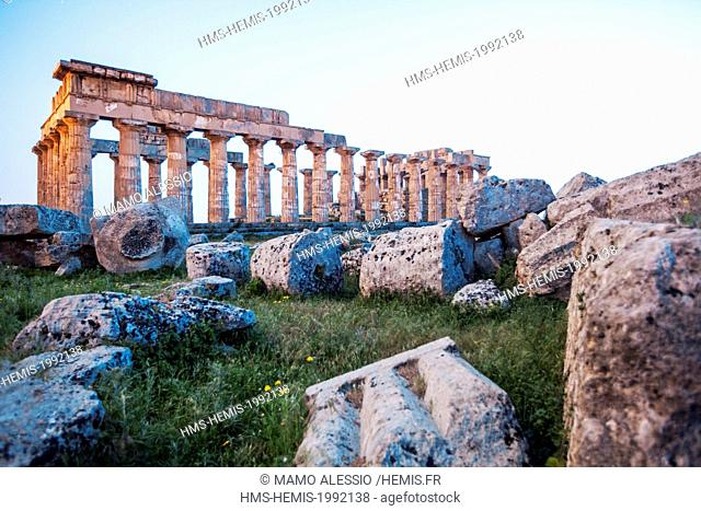 Italy, Sicily, Selinunte, the archaeological park of the ancient greek city, the ruins of the E and F temple