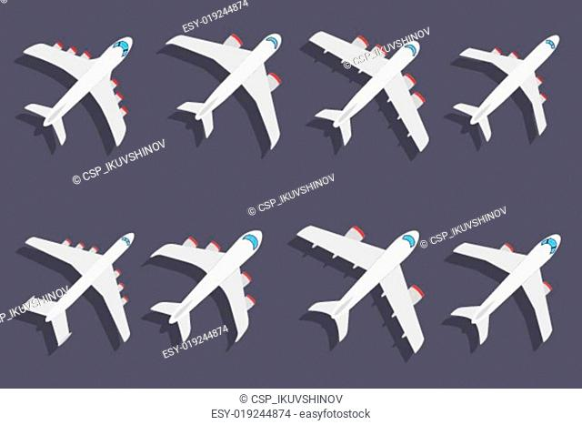 Vector set of different airplanes