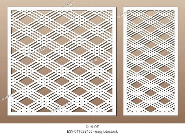 Set decorative card for cutting. Square line diagonal pattern. Laser cut. Ratio 1:1, 1:2. Vector illustration