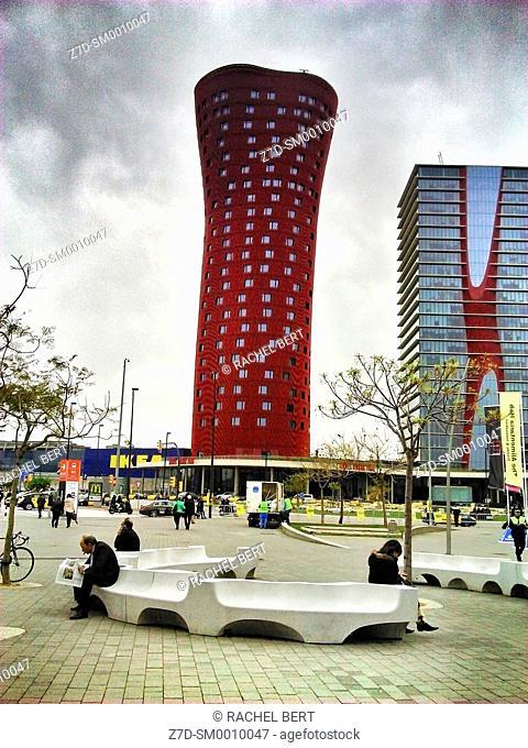 Tower by Toyo Ito in Plaça Europa, Hospitalet de Llobregat. Barcelona province, Catalonia