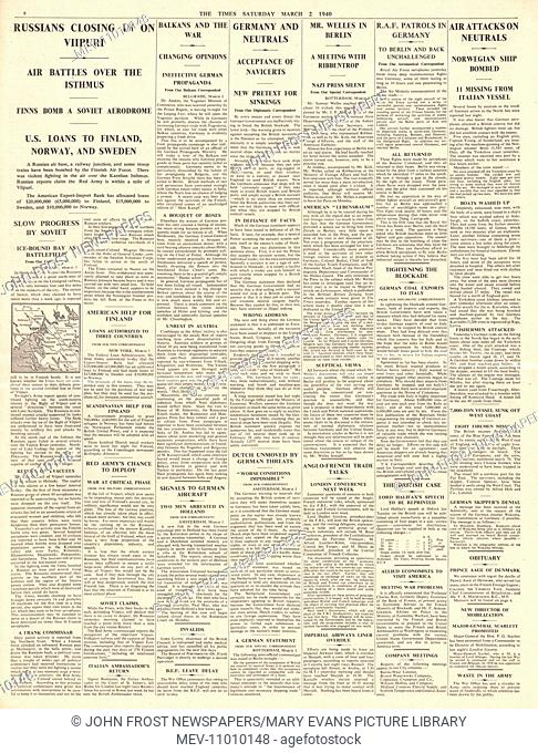 1940 page 6 The Times Finnish City of Viipuri under threat, Sumner Welles meet Ribbentrop and RAF drop flares over Berlin. 2nd March 1940 issue