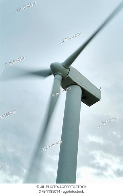 rotating wind turbine  Navarra  Spain