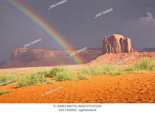 Rainbow's end in Monument Valley, Navajo Nation, USA