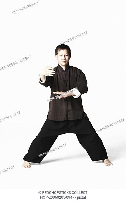 Portrait of a mid adult man practicing martial arts