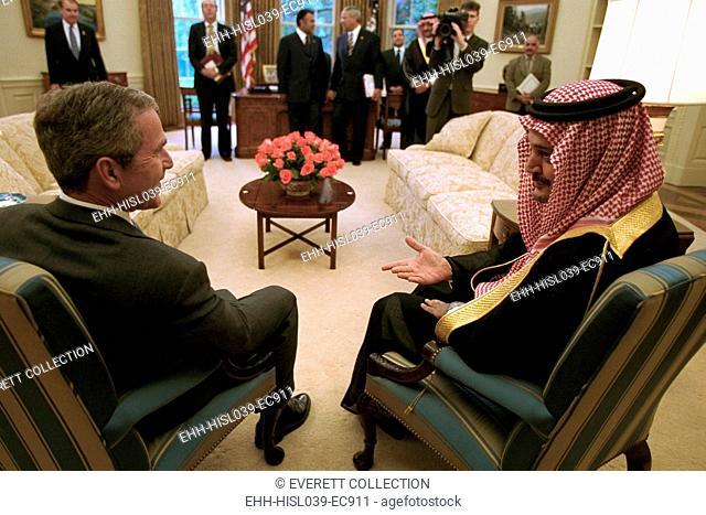 President George W. Bush meets with Foreign Minister Saudi Al-Fail of Saudi Arabia, Sept. 20, 2001. By this date, U.S. intelligence had determined Al Qaeda