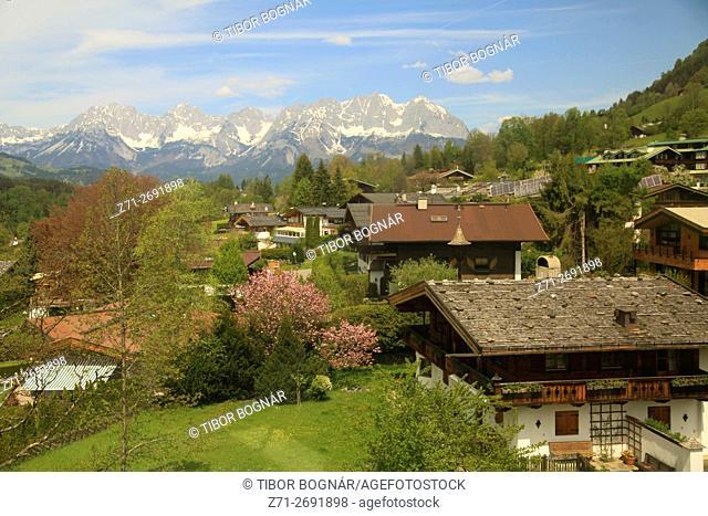 Austria, Tyrol, Kitzbühel, aerial view, Kaisergebirge,