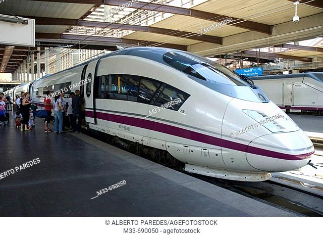 AVE (Spanish High-speed train), model Siemens Serie 103. Atocha station, Madrid, Spain
