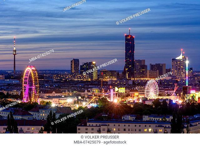 Vienna, tower Donauturm, Prater, Ferris Wheel, DC Tower 1, UN Building (Vienna International Center), overview, Wien, Austria