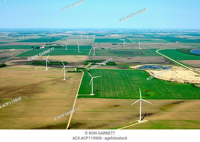 aerial,wind turbines St Leon, Manitoba
