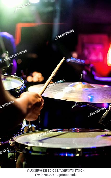 A partial view of a drummer in a club in Nashville Tennessee